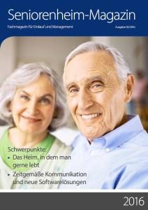 Cover Seniorenheimmagazin 02_2016 mit Artikel von Ulrike Jocham, die Frau Nullschwelle: Schwellenfreie Außentüren in der Altenhilfe