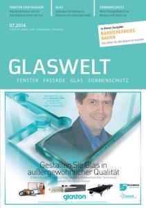Cover von der GLASWELT 2014 Ausgabe 7 mit einem Artikel von Ulrike Jocham, der Frau Nullschwelle: Absolut dichte Außentüren ohne störende Schwellen-Die Magnet-Doppeldichtung macht es möglich