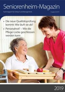 """Cover vom Seniorenheimmagazin 2/2019 mit Artikel """"Das Ende des Türschwellen-Märchens"""" von Ulrike Jocham, der Frau Nullschwelle"""