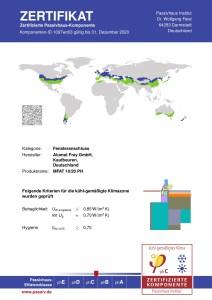 Die weltweit erste passivhauszertifizierte Nullschwelle_Deckblatt zum gesamten aktuellen Zertifikat