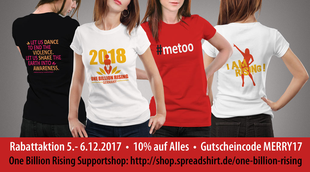Rabattaktion im One Billion Rising Support Shop