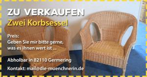 Verkaufe zwei schöne Korbstühle in Germering