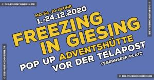 Freezing in Giesing - Pop up Adventshütte vor der Tela-Post