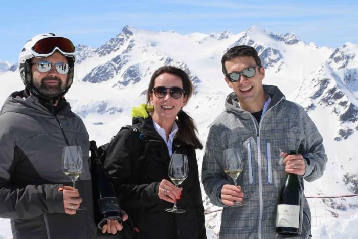 Yvonne Cornelius, Andreas Wickhoff und Wolfgang Tratter bei der Höhendegustation am Gletscher in Sölden