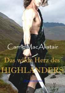 Schottischer Krieger mit freiem Oberkörper im Kilt, mit Schwert vor hügeliger Heidelandschaft