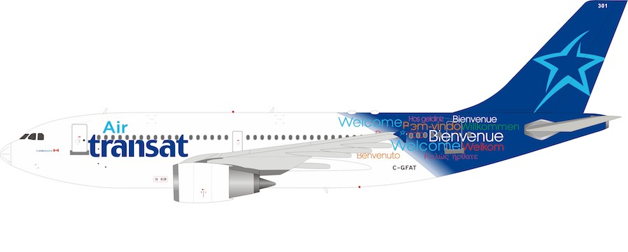 air transat airbus a310 304 c gfat 1 200 by inflight 200 scale diecast airliners if310at0219 at www diecastairplane com