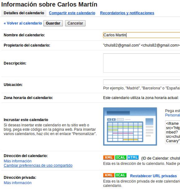 Dirección privada XML Google Calendar