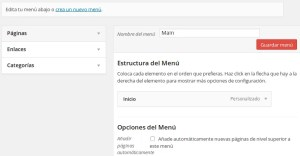 Menús en WordPress pantalla principal