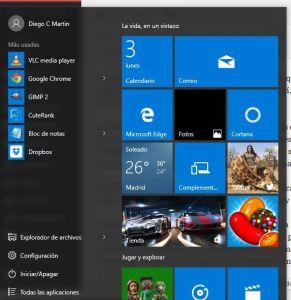 Menu de inicio Windows 10
