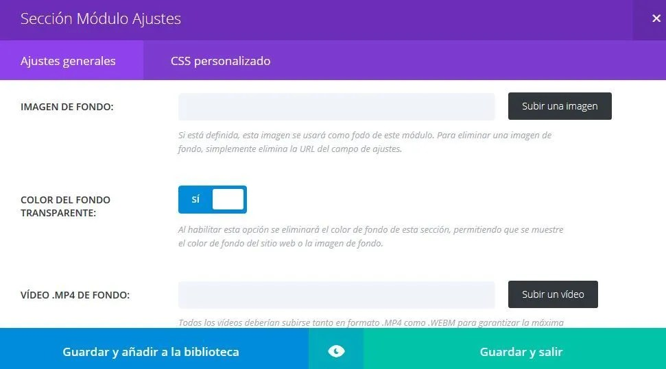 Ajustes de seccion en divi builder para WordPress