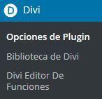 Elemento de navegación de DIVI en el panel de administración de WordPress