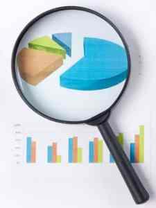Un gráfico con una lupa para el servicio de estudio de posicionamiento y competidores