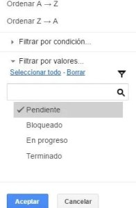 plantilla excel tareas web aplicar filtro