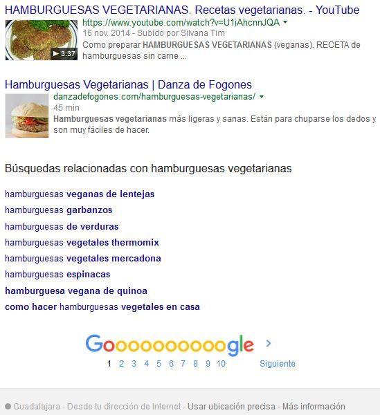 Parte inferior SERP hamburguesa vegetariana en Google