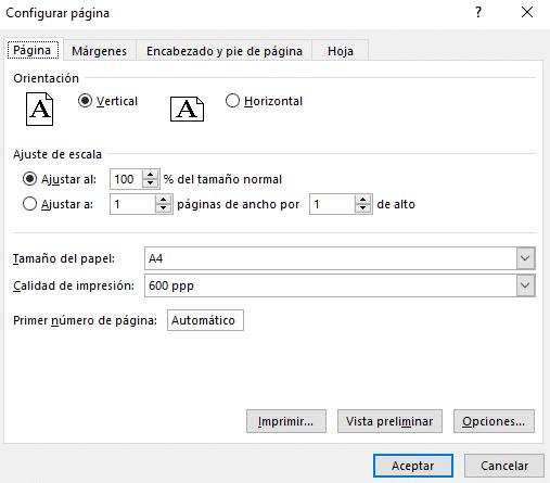 configuración de página en Word