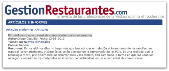 Mobile as a new channel of communication for restaurants