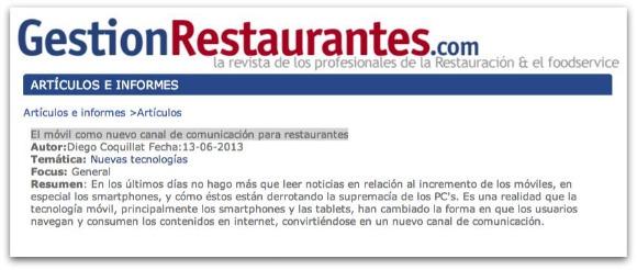 El móvil como nuevo canal de comunicación para restaurantes