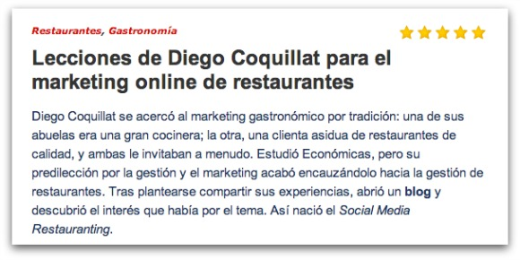 Diego Coquillat lessons on social networks for restaurants