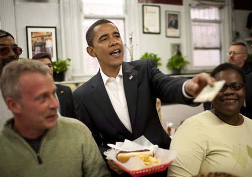 President-Obama at Ben's-Chili-Bowl-Washington