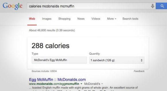Google et les calories sur les menus de restaurants