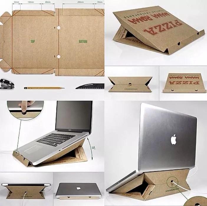 Support pour ordinateur portable avec une pizza en carton