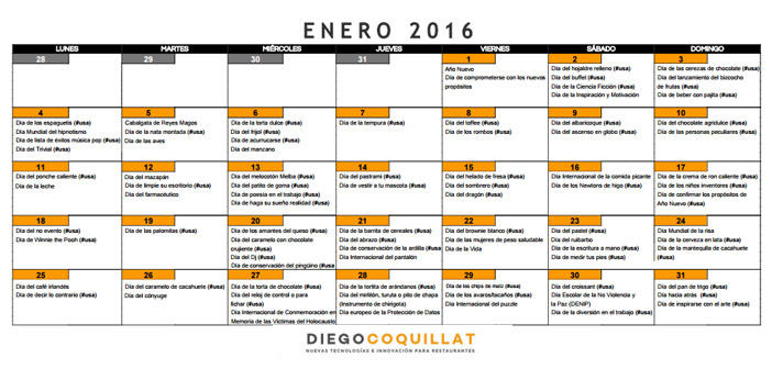 Calendario de acciones de marketing para restaurantes Enero 2016