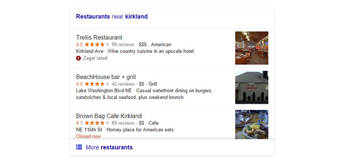 La version actuelle recherche locale Google pour les restaurants