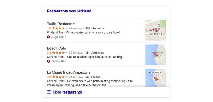 version précédente recherche locale Google pour les restaurants