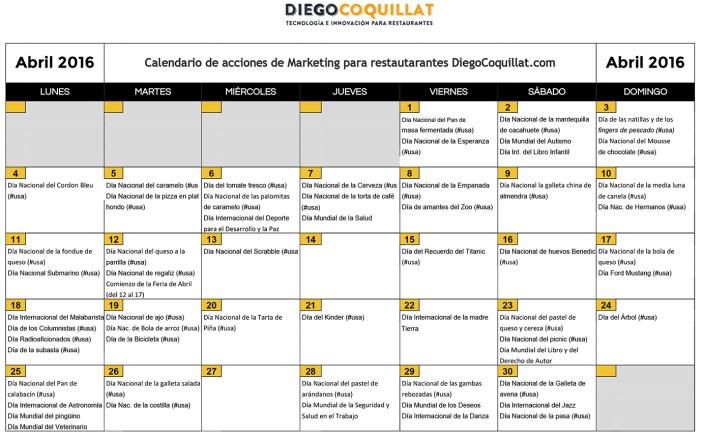 April 2016: marketing activities calendar for restaurants