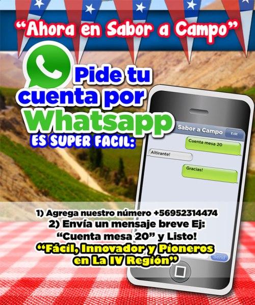 Promoción para pedir la cuenta por Whatsapp