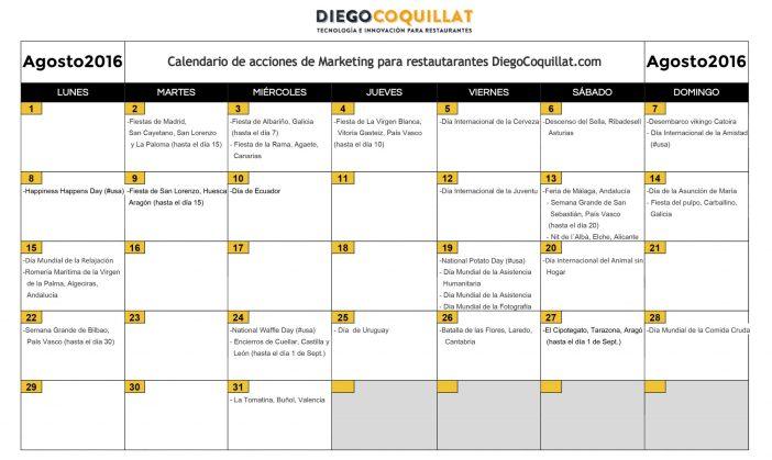 Agosto de 2016: calendario de acciones de marketing para restaurantes
