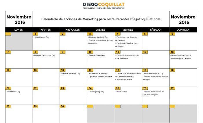 Noviembre 2016: Calendario de acciones de marketing para restaurantes
