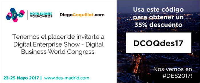 Seize the opportunity we offer in DiegoCoquillat.com to get your ticket to # DES2017 with 35% off. DCOQdes17 redeem the code on the page and Registration and enjoy one of the year's events, in the business world.