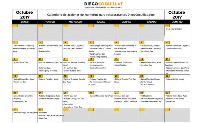 octobre 2017: activités de marketing calendrier pour les restaurants Téléchargez #ClubDiegoCoquillat
