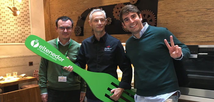 Alberto Casado, Director of communications and campaigns of ActionAid, Jesús Almagro, Canseco Bar and chef Marcos Alves, CEO and founder of ElTenedor.