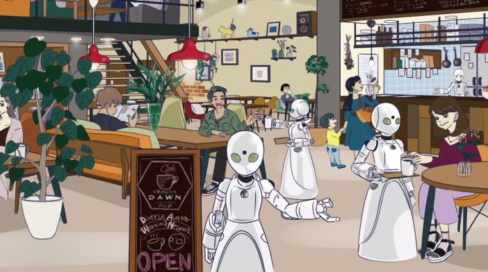 La idea conceptual del restaurante sale del anime Eve no Jikan ambientado en un futuro en el que los robots forman parte de la vida cotidiana, y donde se presenta una dicotomía moral representada por aquellos ciudadanos que tratan los robots como meras herramientas y las personas que tratan a dichas máquinas como iguales. Una de localizaciones en las que transcurre la historia es un bar en el que humanos y robots coexisten en igualdad de condiciones.
