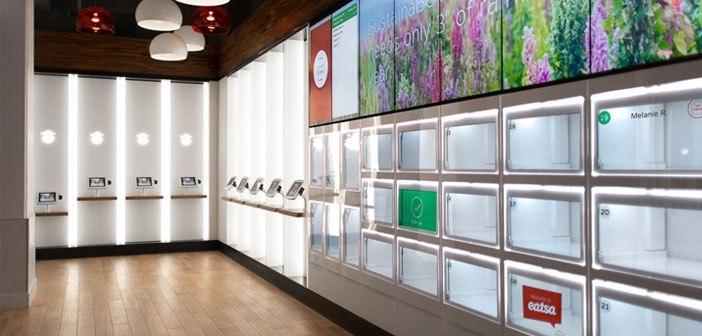 Eatsa acometió en 2015 la incorporación de una máquina expendedora híbrida, en la que los consumidores pedían desde su terminal móvil y recogían su comida en una especie de taquillas acristaladas cuando su nombre aparecía en pantalla.
