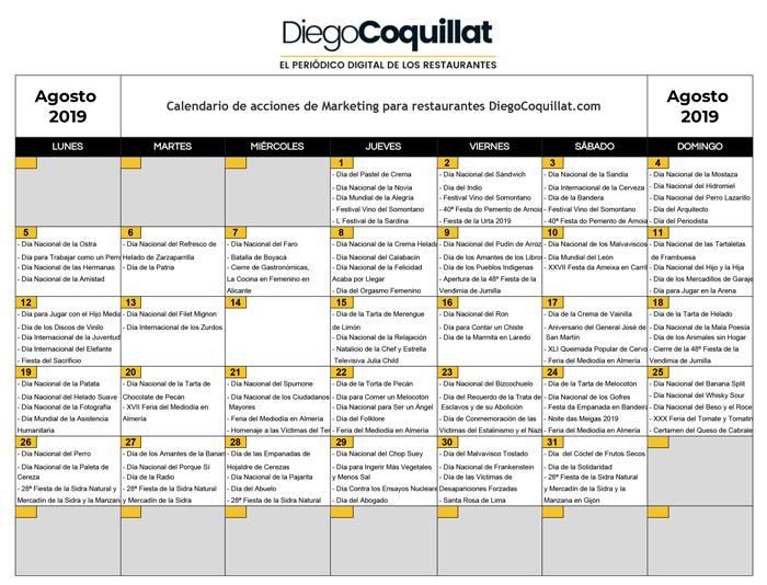 Calendario 21 Day Fix.August 2019 Marketing Activities Calendar For Restaurants