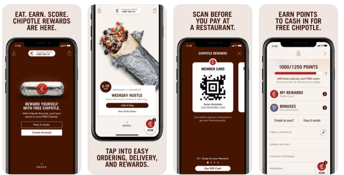 For more delight of lovers of Chipotle Mexican food, For each 125 dollars spent on drinks with active mobile app automatically get a reward: free incoming on the next visit.