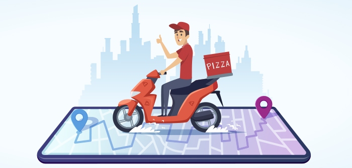 Domino's Pizza copy tracking services delivery in real time Uber Eats