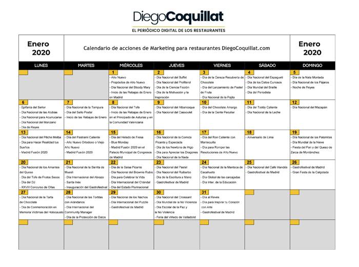 Enero De 2020 Calendario De Acciones De Marketing Para Restaurantes Diegocoquillat Com