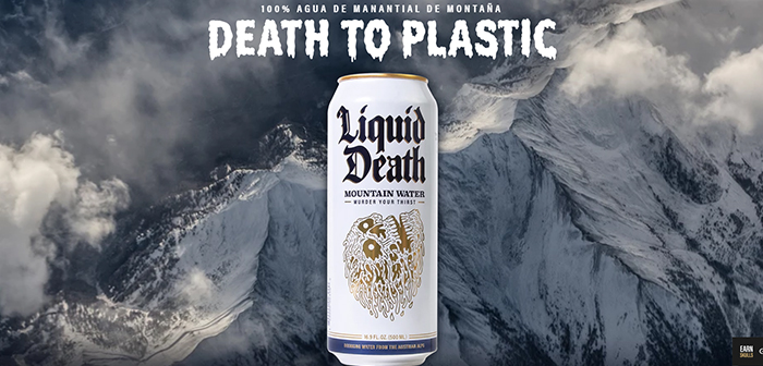 Liquid Death does not develop any special drink, canned water only offering modern packaging and flashy, at the height of the designs shown cans of energy drinks more elaborate.