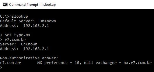 nslookup - MX - r7.com.br