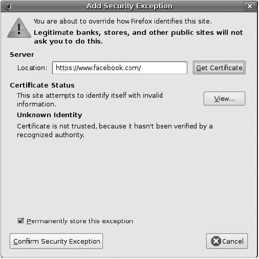 Erro de certificado digital no Facebook