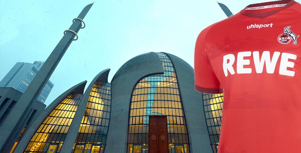 FC Köln'ün formasında DİTİB Merkez Camii silüeti