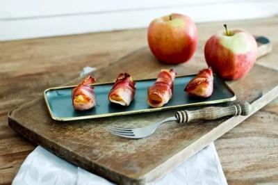 Apfel Bacon Spalten mit Vanillezucker - Fingerfood vom Grill