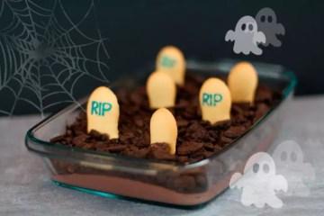 Halloween Nachspeise - Friedhof Mousse au Chocolat