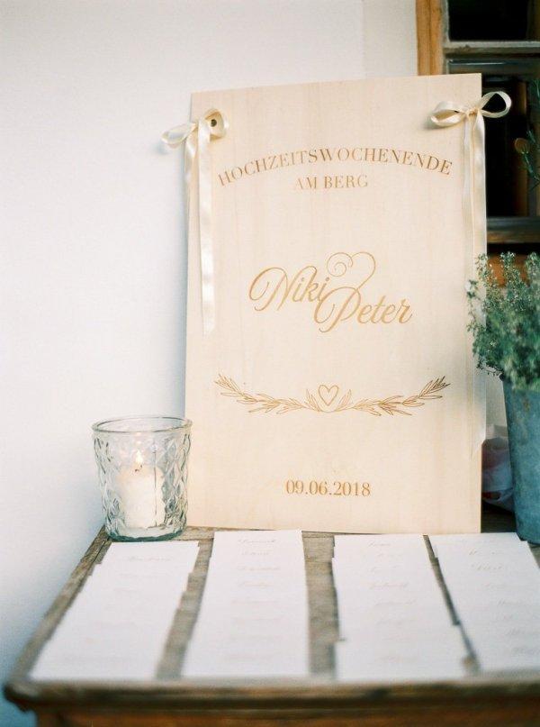 Personalisiertes Holzschild als Willkommentafel für Hochzeiten und Parties aus Österreich. Die Macherei