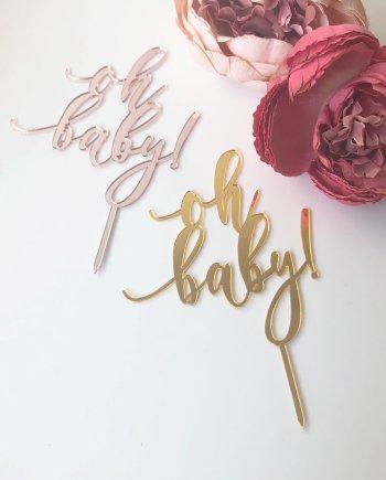 Oh Baby Mini Caketopper in Gold und Roségold. Die Macherei