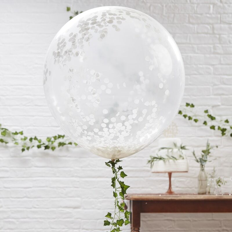 Riesen Konfetti Ballon weiß 3er Set